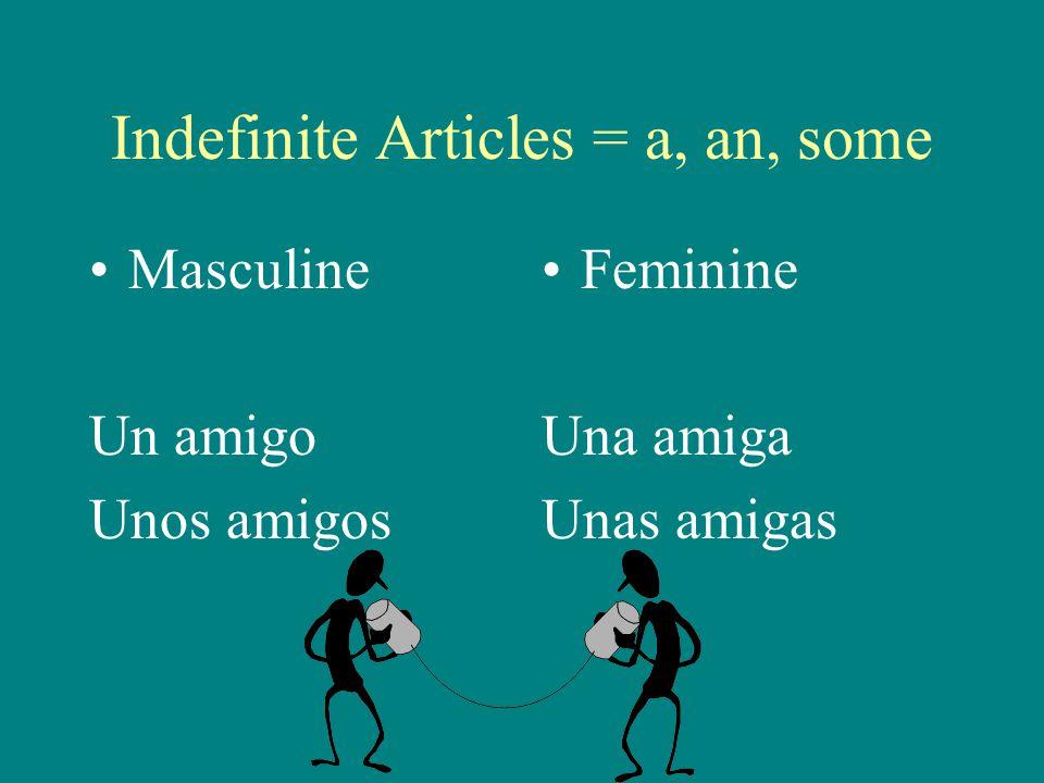 Indefinite Articles = a, an, some Masculine Un amigo Unos amigos Feminine Una amiga Unas amigas
