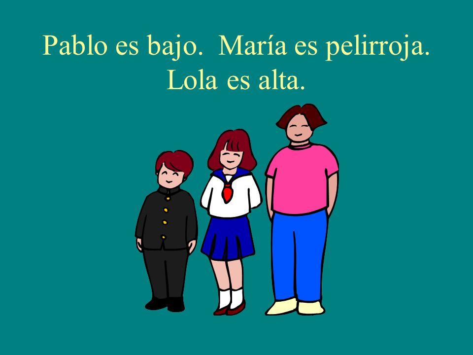 Pablo es bajo. María es pelirroja. Lola es alta.