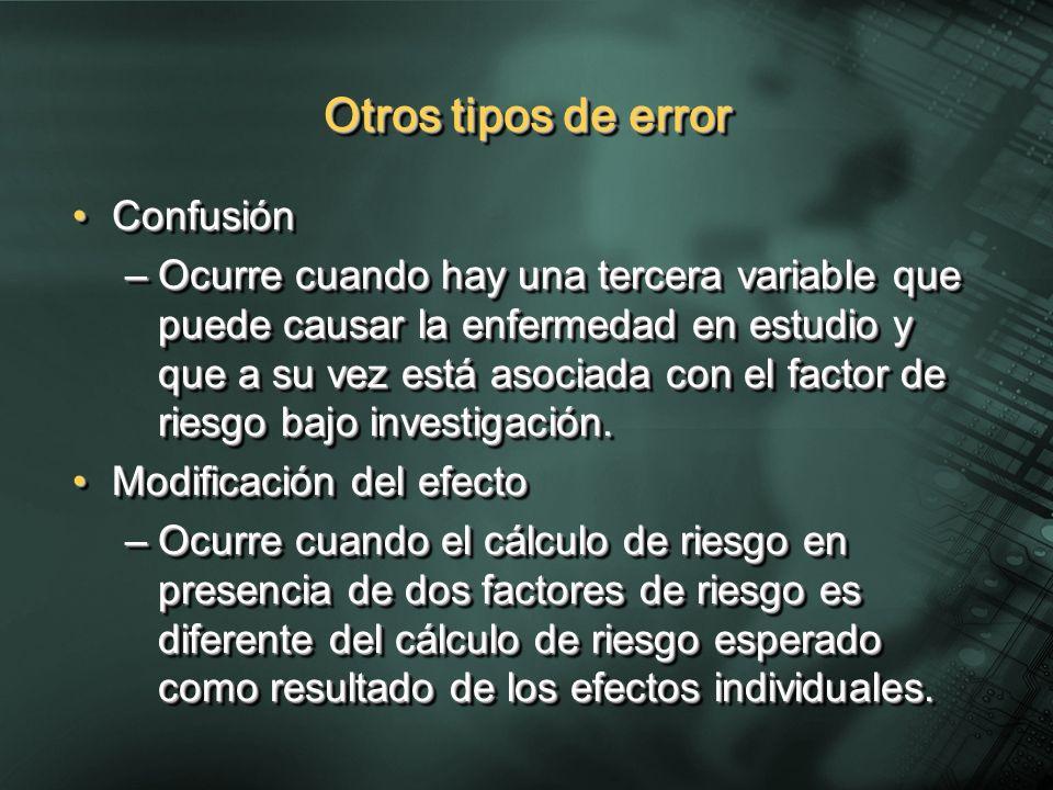 Otros tipos de error ConfusiónConfusión –Ocurre cuando hay una tercera variable que puede causar la enfermedad en estudio y que a su vez está asociada con el factor de riesgo bajo investigación.