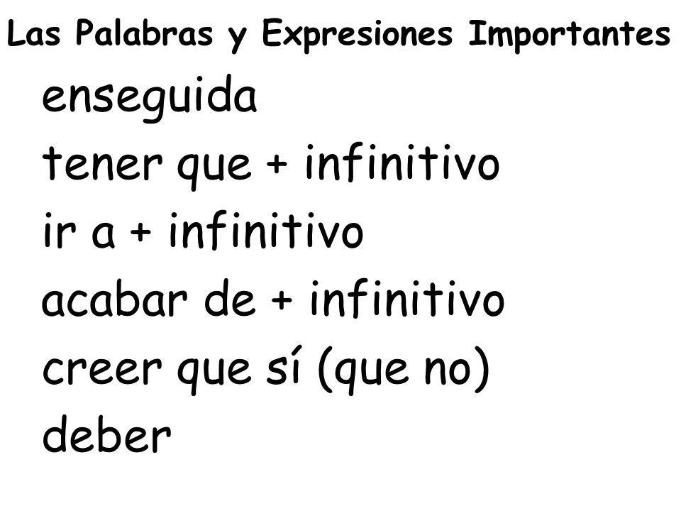 Las Palabras y Expresiones Importantes enseguida tener que + infinitivo ir a + infinitivo acabar de + infinitivo creer que sí (que no) deber