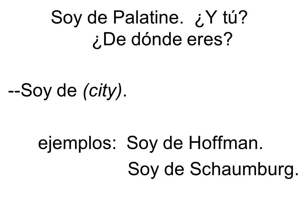 Soy de Palatine. ¿Y tú. ¿De dónde eres. --Soy de (city).