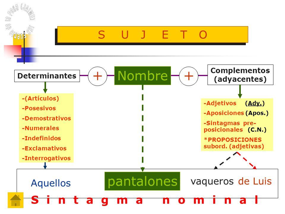 Nombre Complementos (adyacentes) -(Artículos) -Posesivos -Demostrativos -Numerales -Indefinidos -Exclamativos -Interrogativos -Adjetivos (Ady.) -Aposiciones (Apos.) -Sintagmas pre- posicionales (C.N.) *PROPOSICIONES subord.
