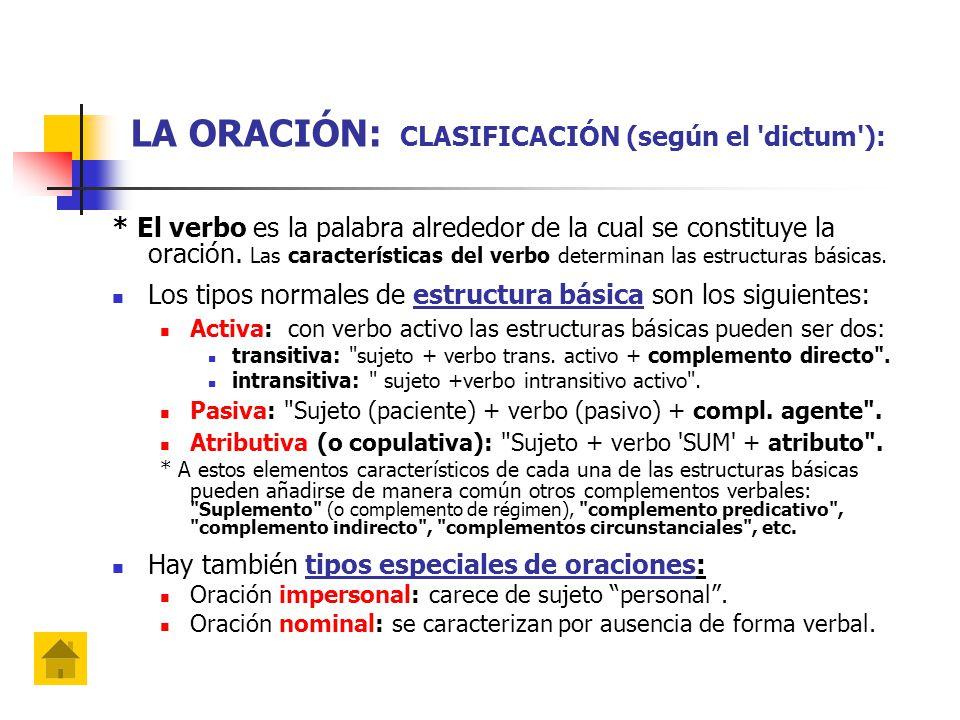 LA ORACIÓN: CLASIFICACIÓN (según el dictum ): * El verbo es la palabra alrededor de la cual se constituye la oración.