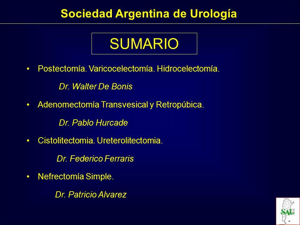 Postectomía Sociedad Argentina de Urología Instrumentación Quirúrgica para las Practicas Urológicas