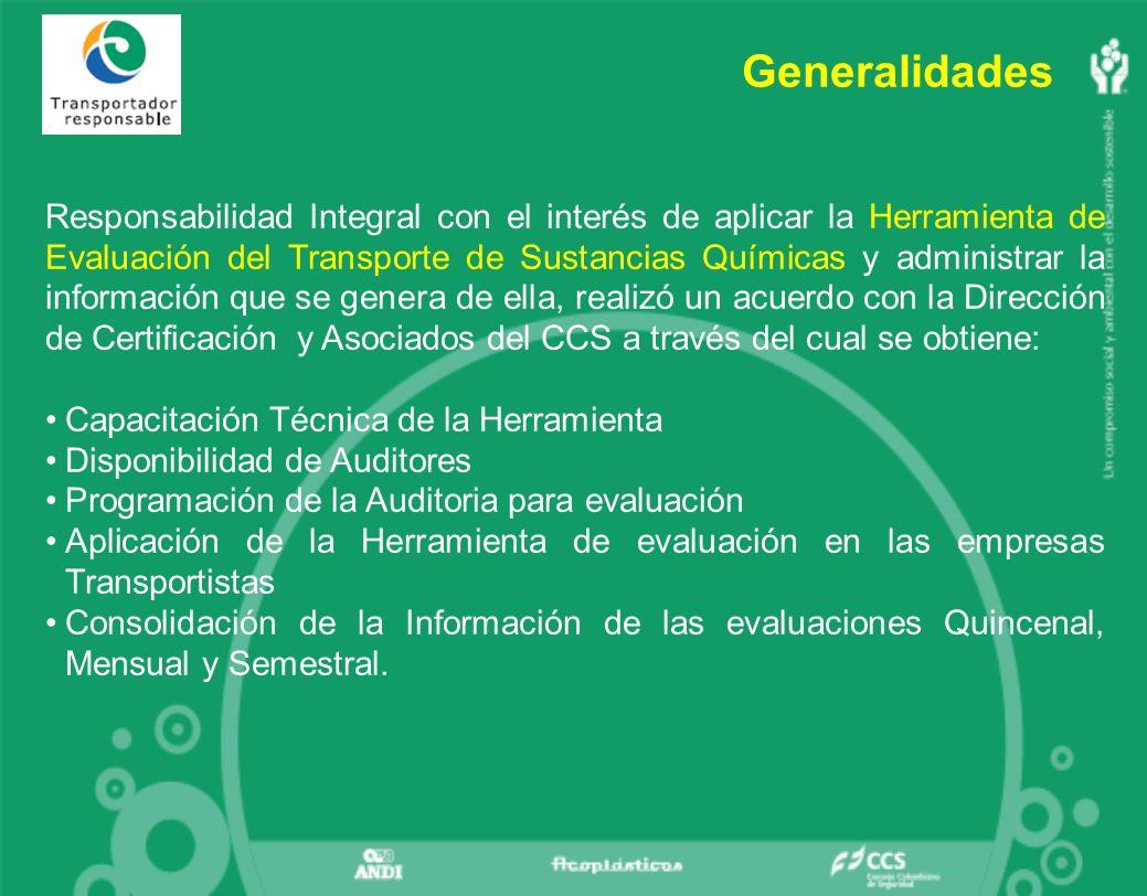 Generalidades Responsabilidad Integral con el interés de aplicar la Herramienta de Evaluación del Transporte de Sustancias Químicas y administrar la información que se genera de ella, realizó un acuerdo con la Dirección de Certificación y Asociados del CCS a través del cual se obtiene: Capacitación Técnica de la Herramienta Disponibilidad de Auditores Programación de la Auditoria para evaluación Aplicación de la Herramienta de evaluación en las empresas Transportistas Consolidación de la Información de las evaluaciones Quincenal, Mensual y Semestral.