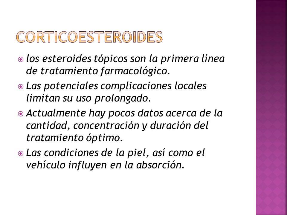  los esteroides tópicos son la primera línea de tratamiento farmacológico.