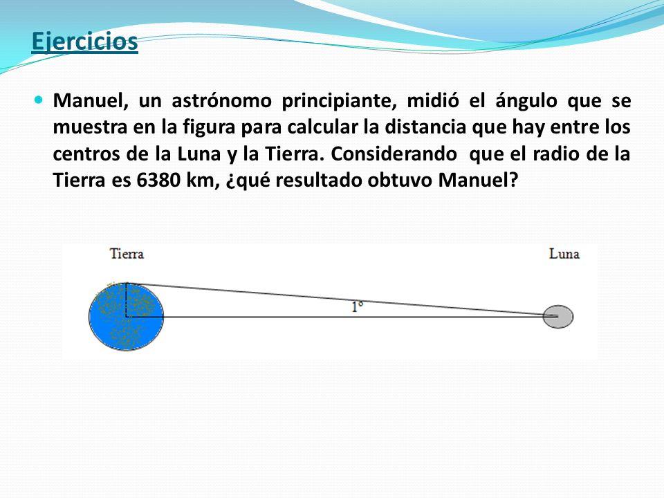 Manuel, un astrónomo principiante, midió el ángulo que se muestra en la figura para calcular la distancia que hay entre los centros de la Luna y la Ti
