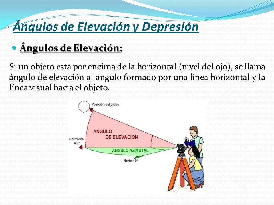 Ángulos de Elevación y Depresión Ángulos de Elevación: Ángulos de Elevación: Si un objeto esta por encima de la horizontal (nivel del ojo), se llama á
