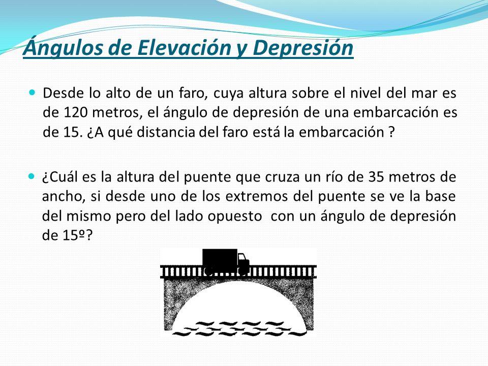 Desde lo alto de un faro, cuya altura sobre el nivel del mar es de 120 metros, el ángulo de depresión de una embarcación es de 15. ¿A qué distancia de