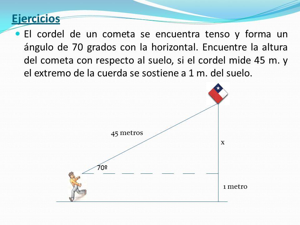 El cordel de un cometa se encuentra tenso y forma un ángulo de 70 grados con la horizontal. Encuentre la altura del cometa con respecto al suelo, si e