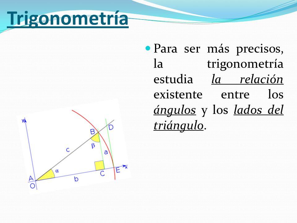 Para ser más precisos, la trigonometría estudia la relación existente entre los ángulos y los lados del triángulo.