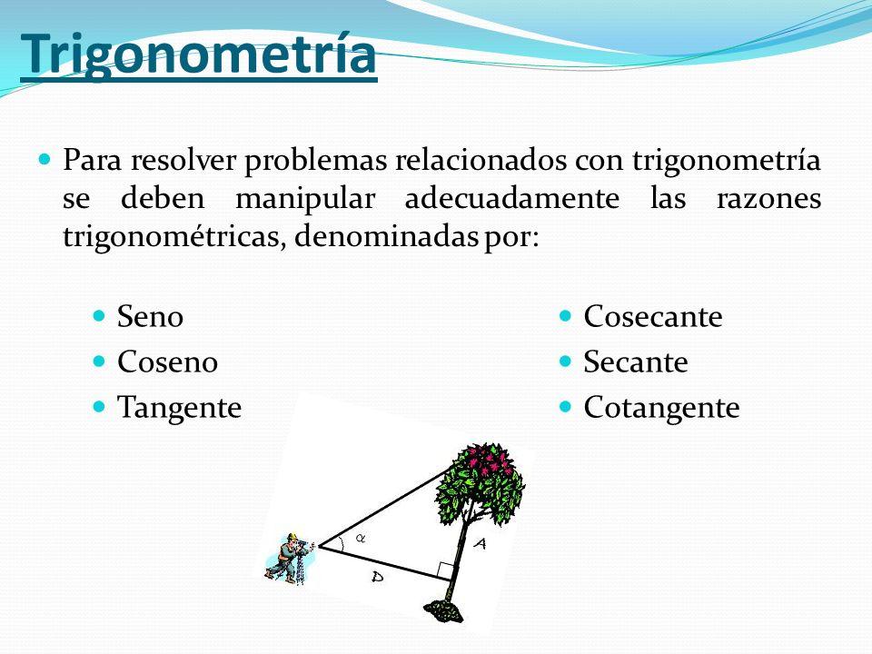 Para resolver problemas relacionados con trigonometría se deben manipular adecuadamente las razones trigonométricas, denominadas por: Trigonometría Se