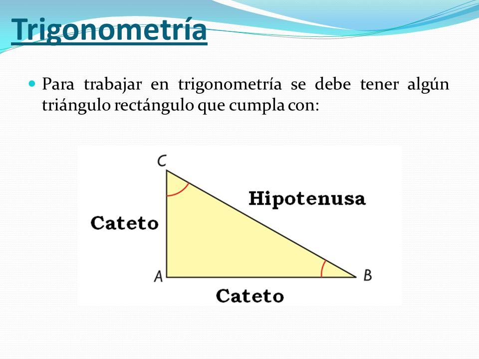 Para trabajar en trigonometría se debe tener algún triángulo rectángulo que cumpla con: Trigonometría