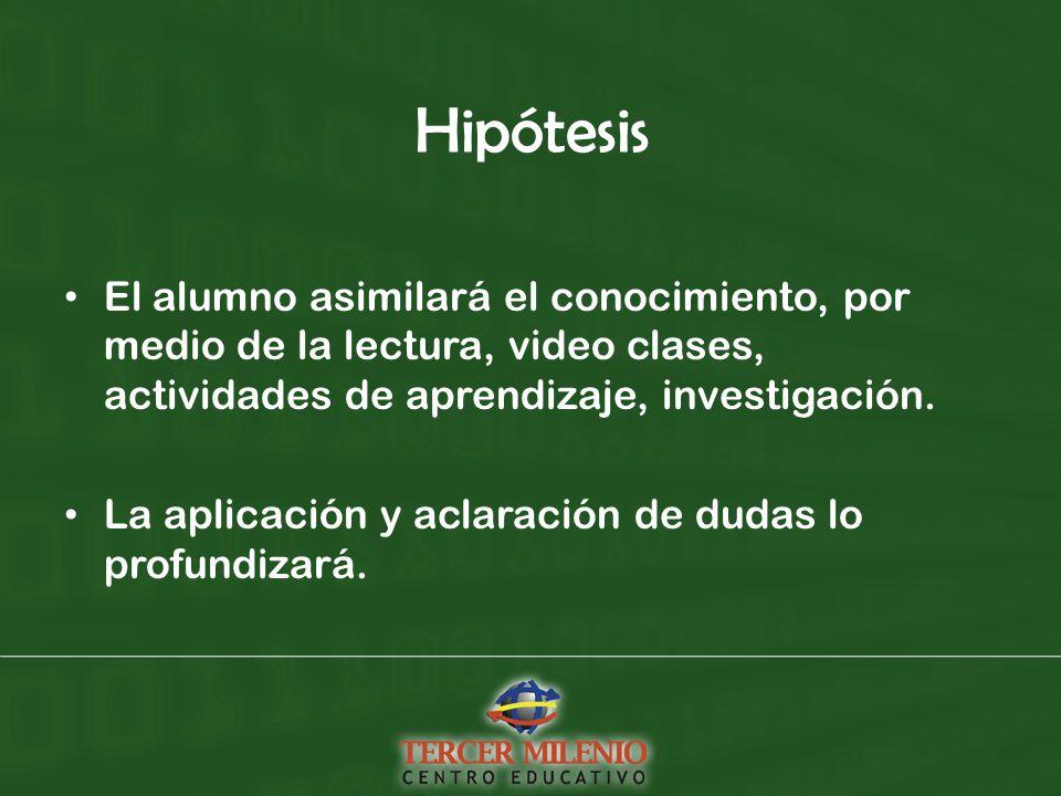 Hipótesis El alumno asimilará el conocimiento, por medio de la lectura, video clases, actividades de aprendizaje, investigación.