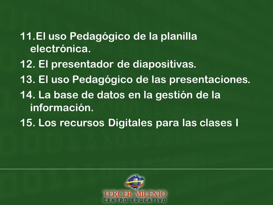 11.El uso Pedagógico de la planilla electrónica. 12.