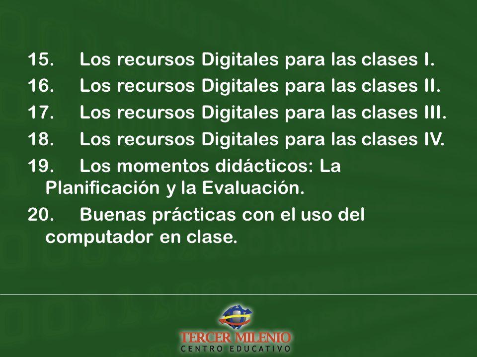 15. Los recursos Digitales para las clases I. 16.