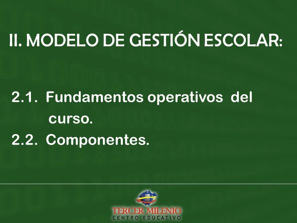 II. MODELO DE GESTIÓN ESCOLAR: 2.1. Fundamentos operativos del curso. 2.2. Componentes.