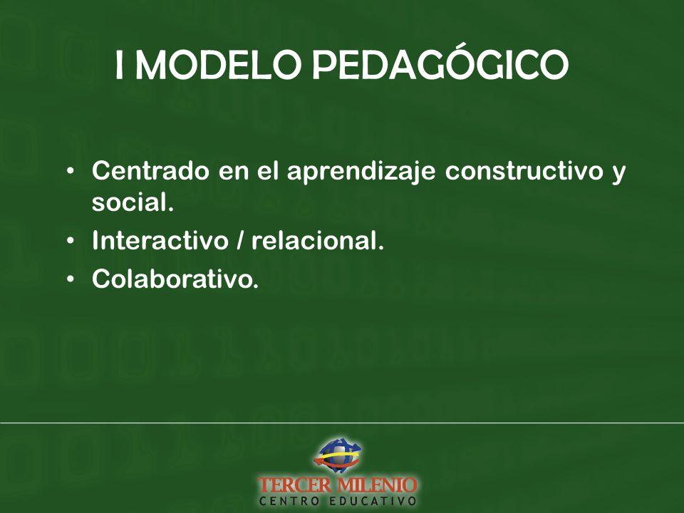 I MODELO PEDAGÓGICO Centrado en el aprendizaje constructivo y social.