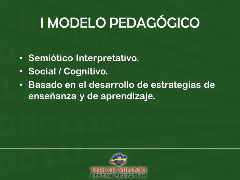 I MODELO PEDAGÓGICO Semiótico Interpretativo. Social / Cognitivo.