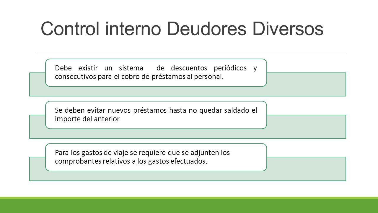 Control interno Deudores Diversos Debe existir un sistema de descuentos periódicos y consecutivos para el cobro de préstamos al personal.