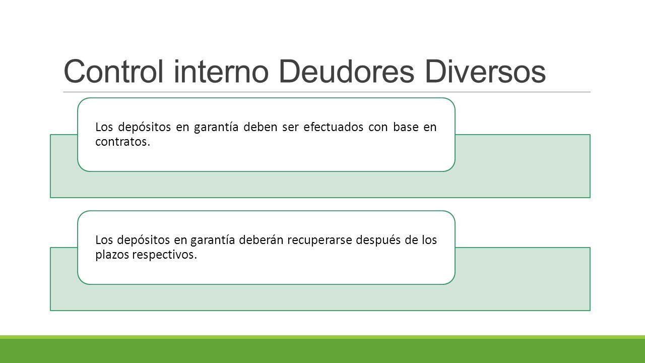 Control interno Deudores Diversos Los depósitos en garantía deben ser efectuados con base en contratos.