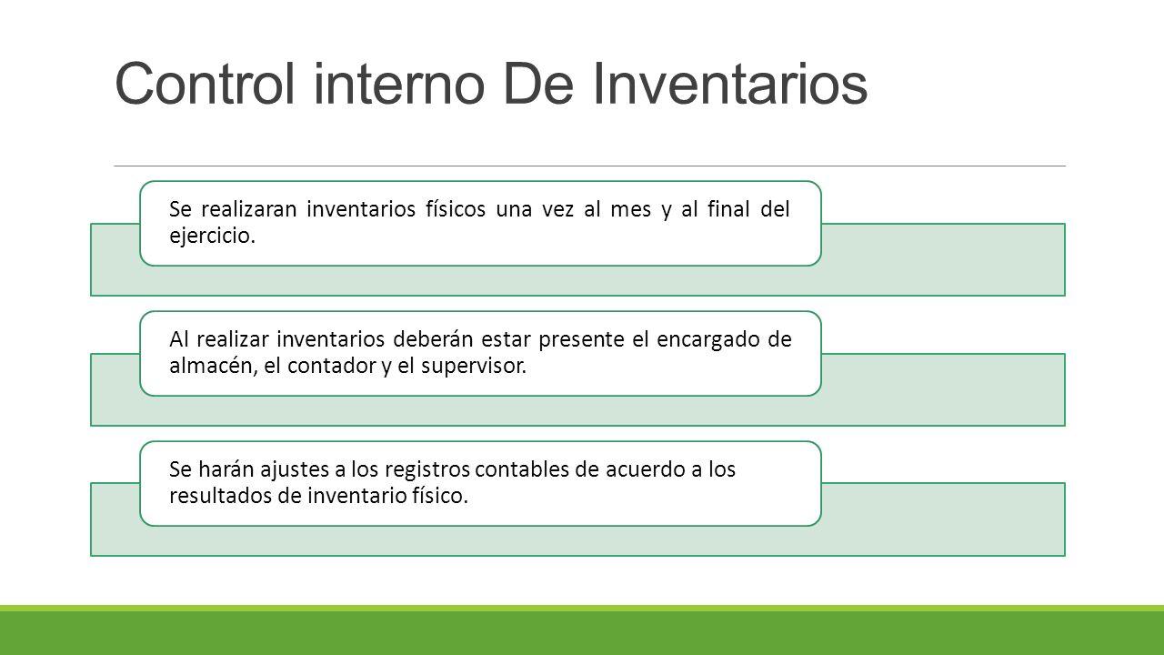 Control interno De Inventarios Se realizaran inventarios físicos una vez al mes y al final del ejercicio.