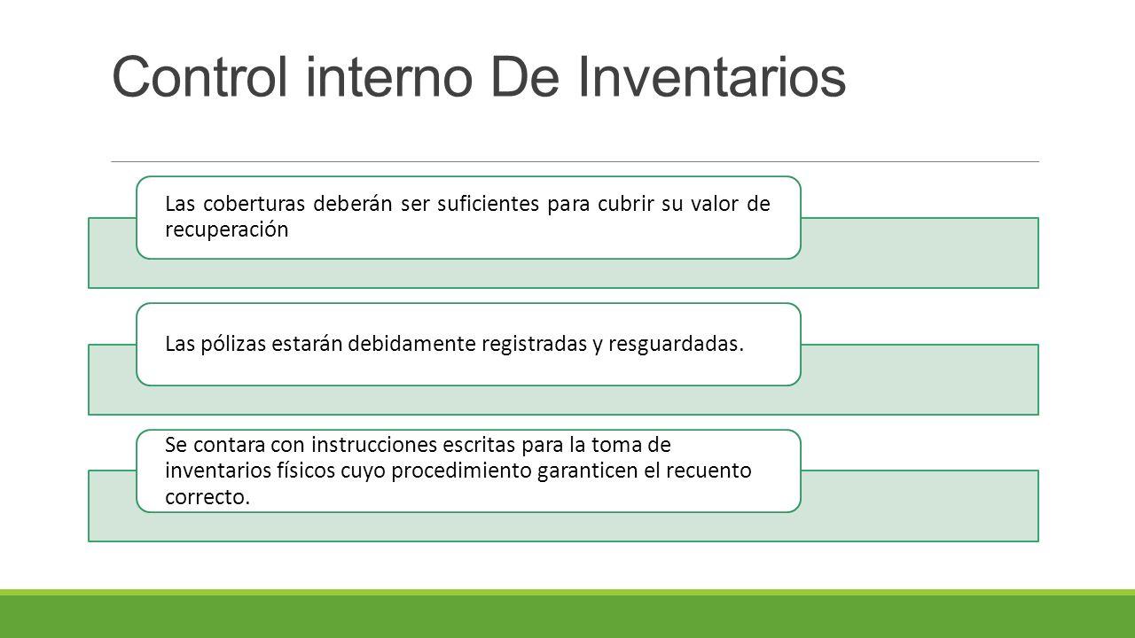 Control interno De Inventarios Las coberturas deberán ser suficientes para cubrir su valor de recuperación Las pólizas estarán debidamente registradas y resguardadas.
