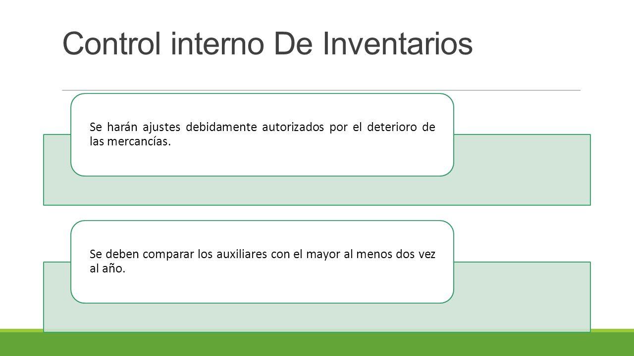 Control interno De Inventarios Se harán ajustes debidamente autorizados por el deterioro de las mercancías.