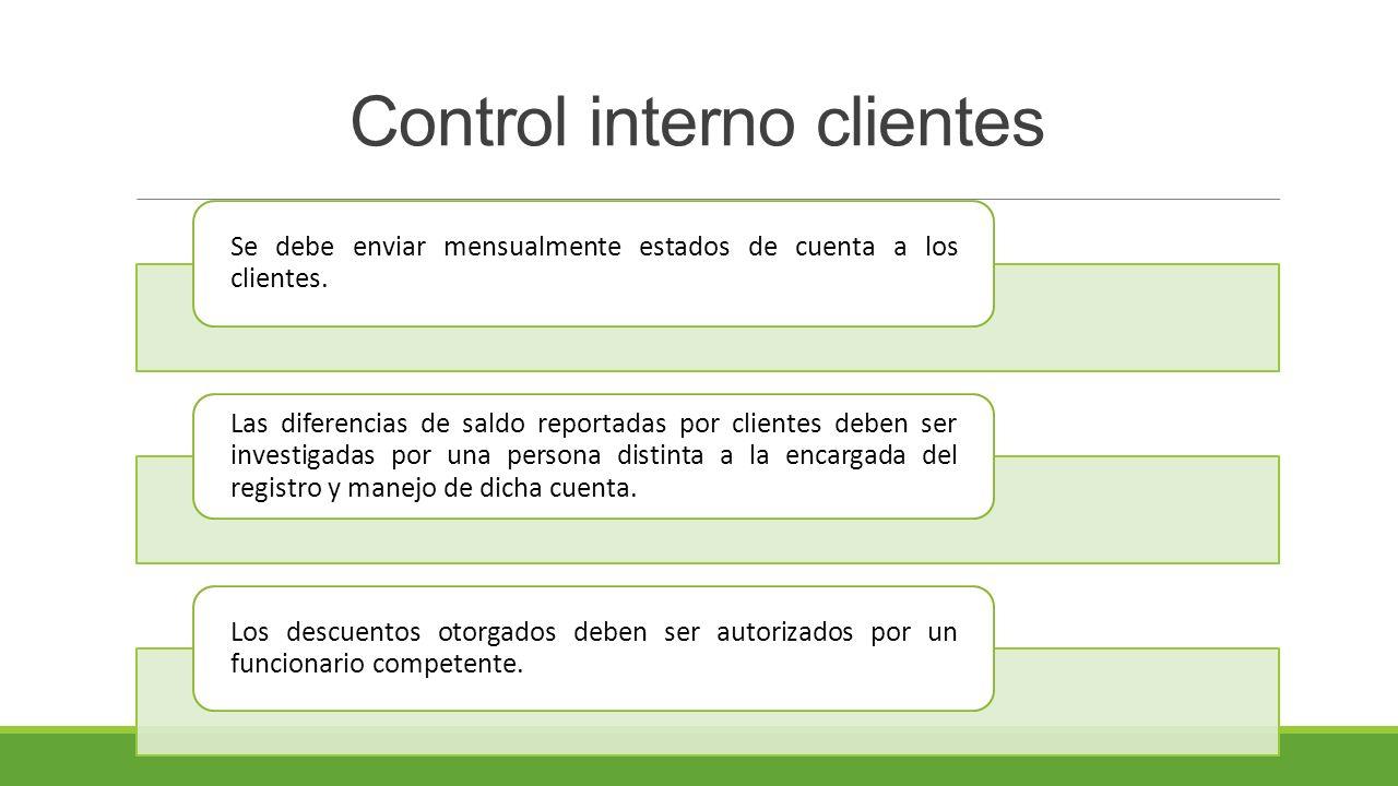 Control interno clientes Se debe enviar mensualmente estados de cuenta a los clientes.