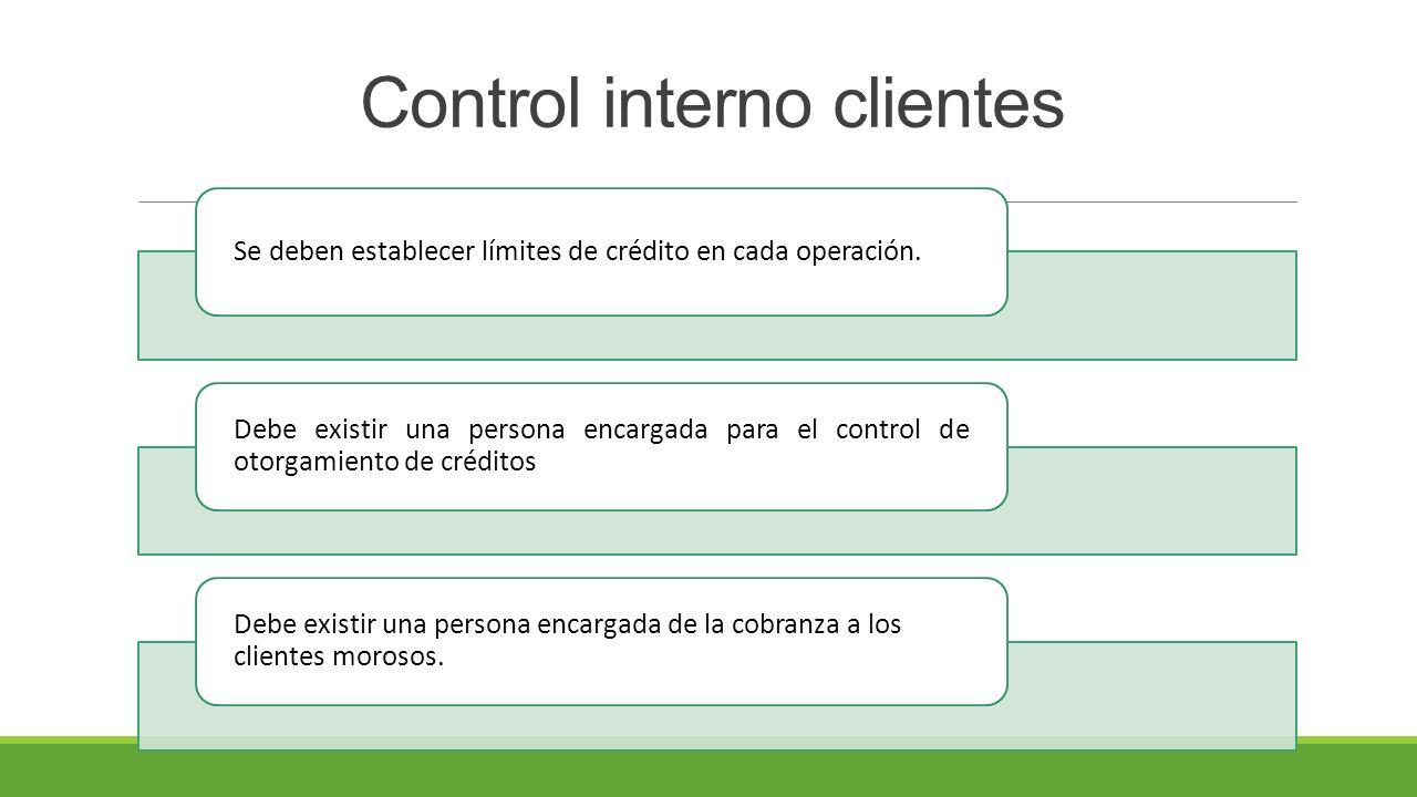 Control interno clientes Se deben establecer límites de crédito en cada operación.