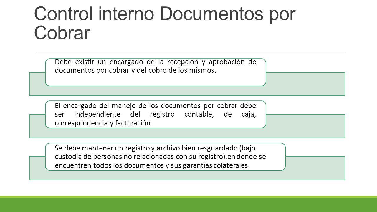 Control interno Documentos por Cobrar Debe existir un encargado de la recepción y aprobación de documentos por cobrar y del cobro de los mismos.