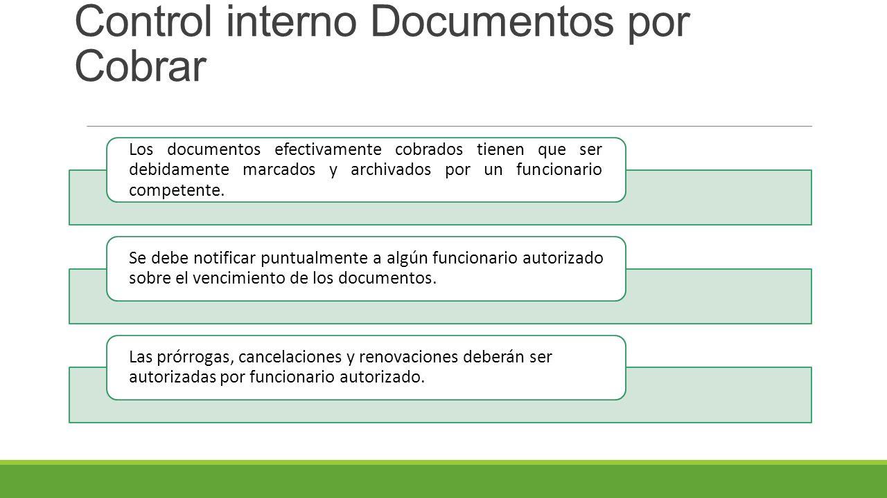 Control interno Documentos por Cobrar Los documentos efectivamente cobrados tienen que ser debidamente marcados y archivados por un funcionario competente.