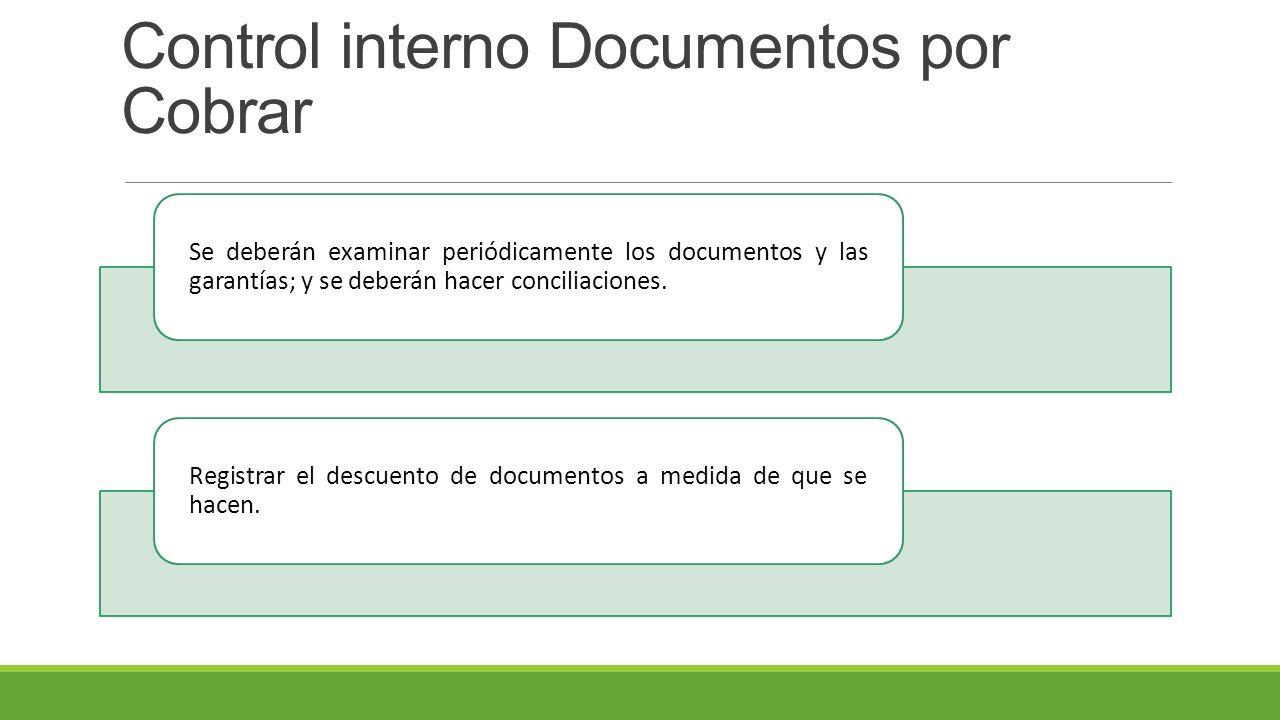 Control interno Documentos por Cobrar Se deberán examinar periódicamente los documentos y las garantías; y se deberán hacer conciliaciones.