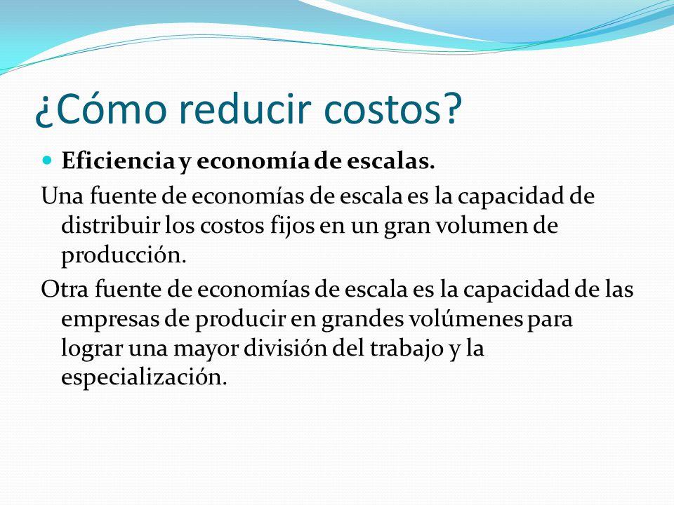 ¿Cómo reducir costos. Eficiencia y economía de escalas.