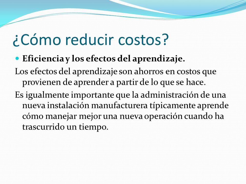 ¿Cómo reducir costos.Eficiencia y los efectos del aprendizaje.