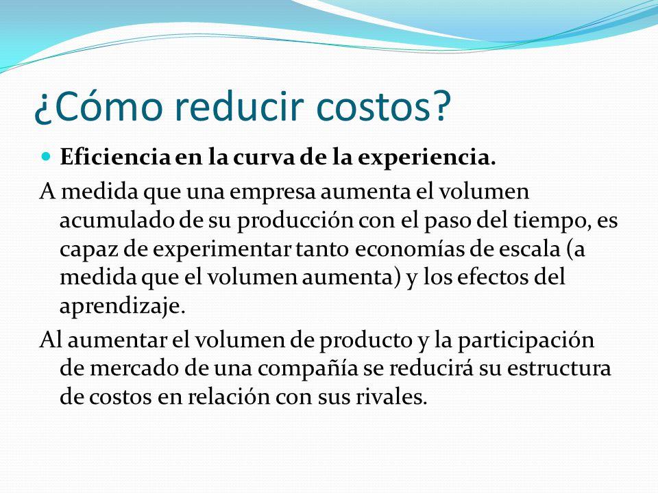 ¿Cómo reducir costos.Eficiencia en la curva de la experiencia.