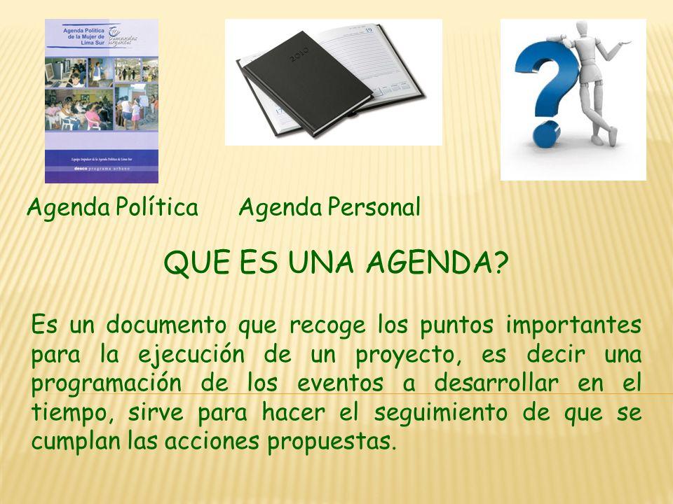 Sesión nº 6 Programa Urbano – desco Marzo 2011 AGENDA PARA LA PREVENCION
