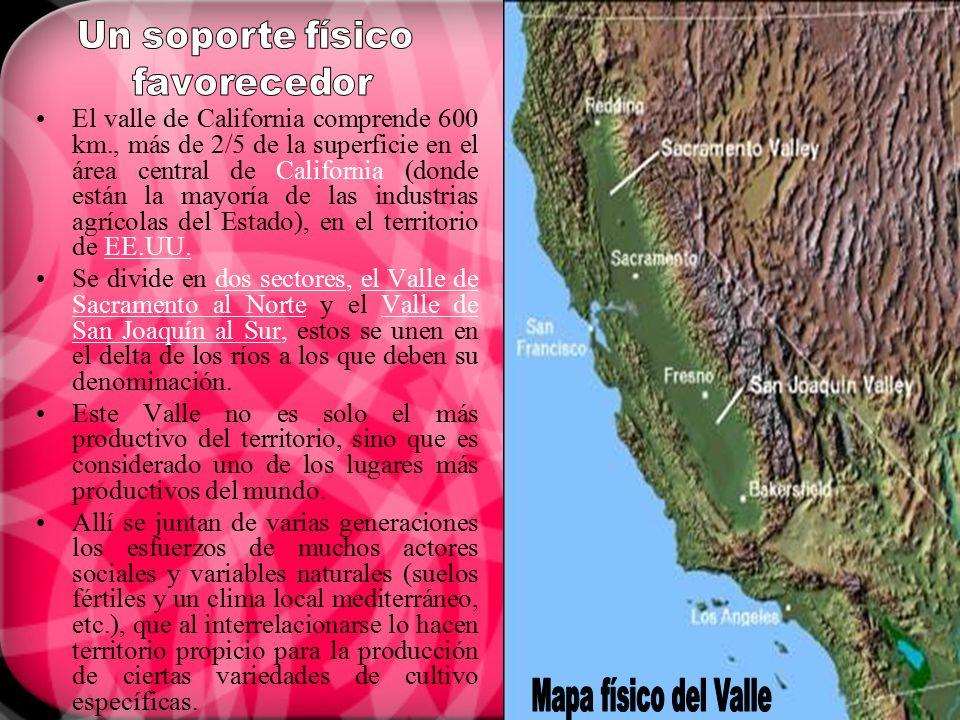 El valle de California comprende 600 km., más de 2/5 de la superficie en el área central de California (donde están la mayoría de las industrias agríc