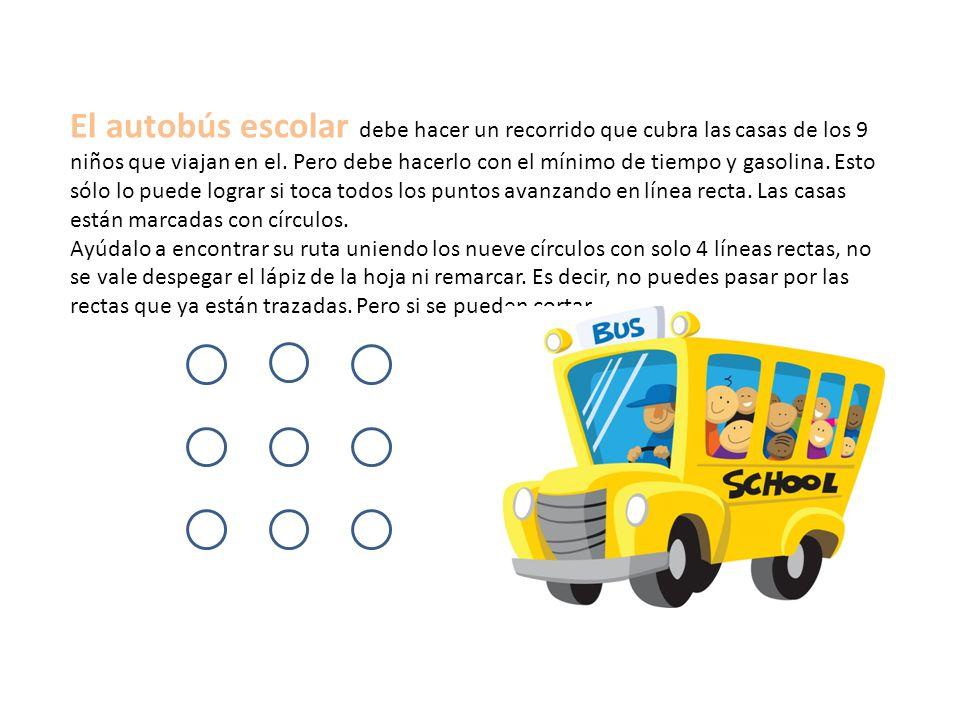 El autobús escolar debe hacer un recorrido que cubra las casas de los 9 niños que viajan en el.