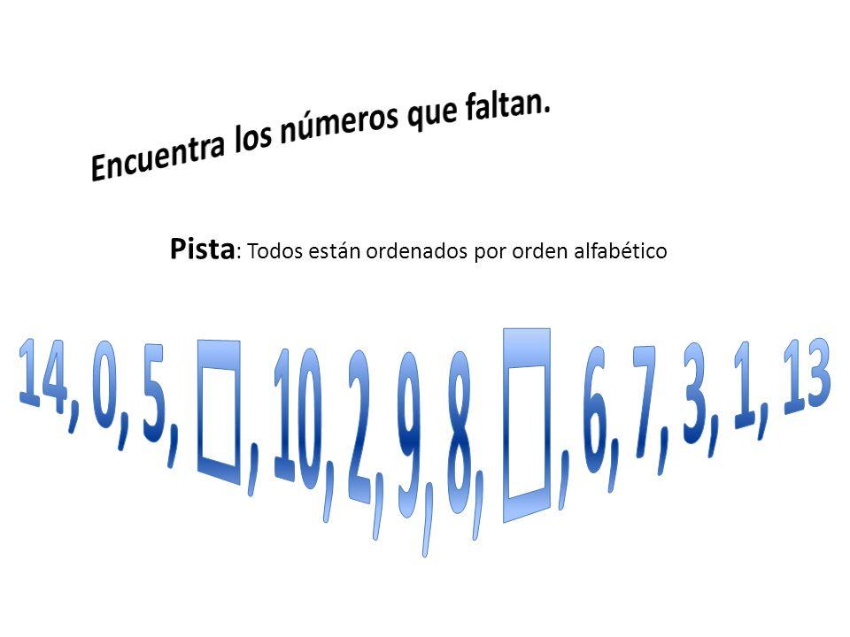 Pista : Todos están ordenados por orden alfabético