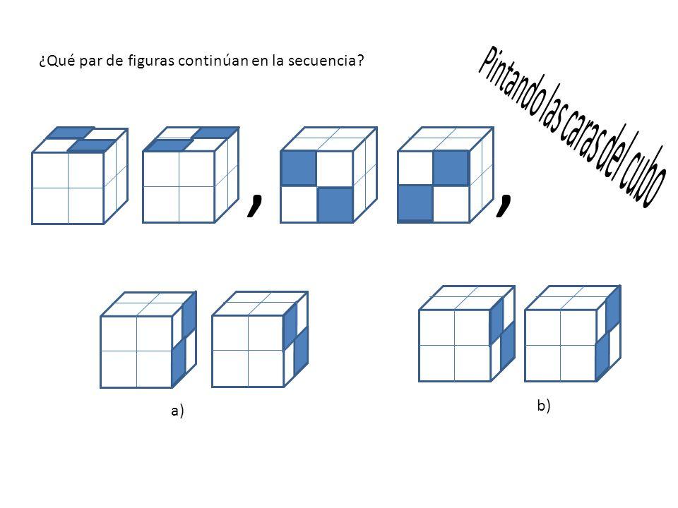 ¿Qué par de figuras continúan en la secuencia?,, a) b)