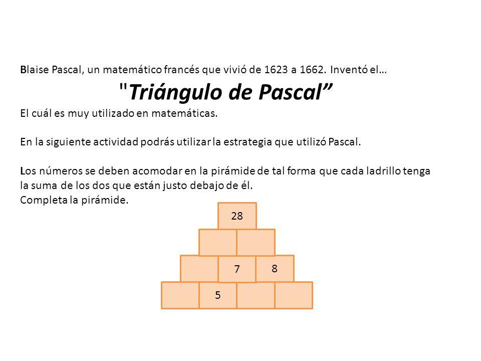 Blaise Pascal, un matemático francés que vivió de 1623 a 1662.