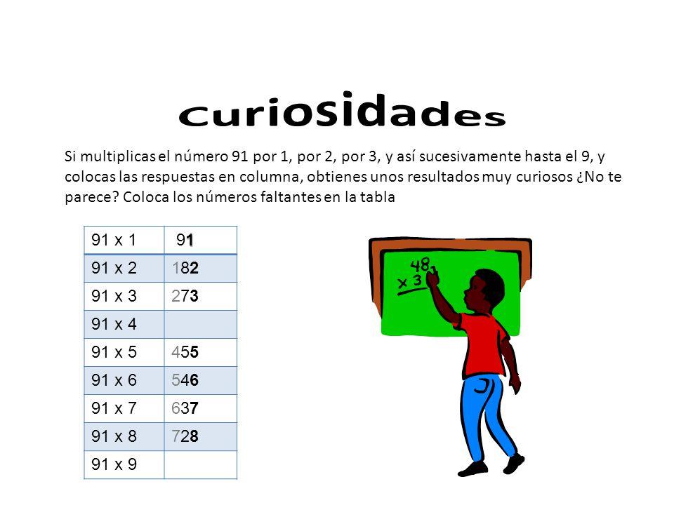 Si multiplicas el número 91 por 1, por 2, por 3, y así sucesivamente hasta el 9, y colocas las respuestas en columna, obtienes unos resultados muy curiosos ¿No te parece.