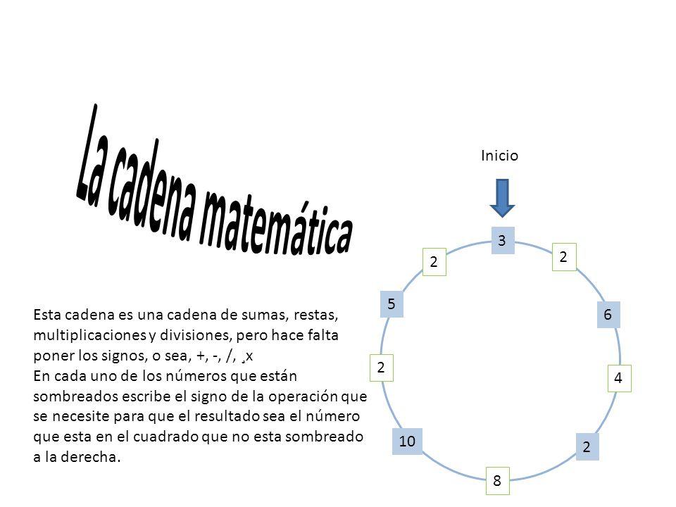 3 2 6 4 2 8 10 2 5 2 Esta cadena es una cadena de sumas, restas, multiplicaciones y divisiones, pero hace falta poner los signos, o sea, +, -, /, ¸x En cada uno de los números que están sombreados escribe el signo de la operación que se necesite para que el resultado sea el número que esta en el cuadrado que no esta sombreado a la derecha.