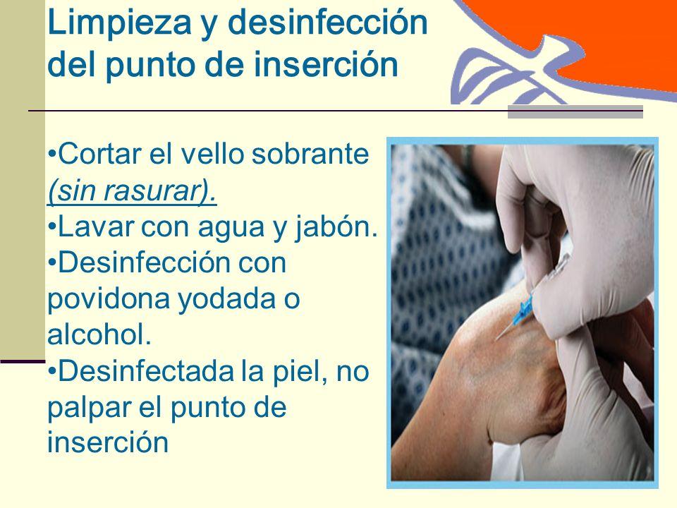 Limpieza y desinfección del punto de inserción Cortar el vello sobrante (sin rasurar).