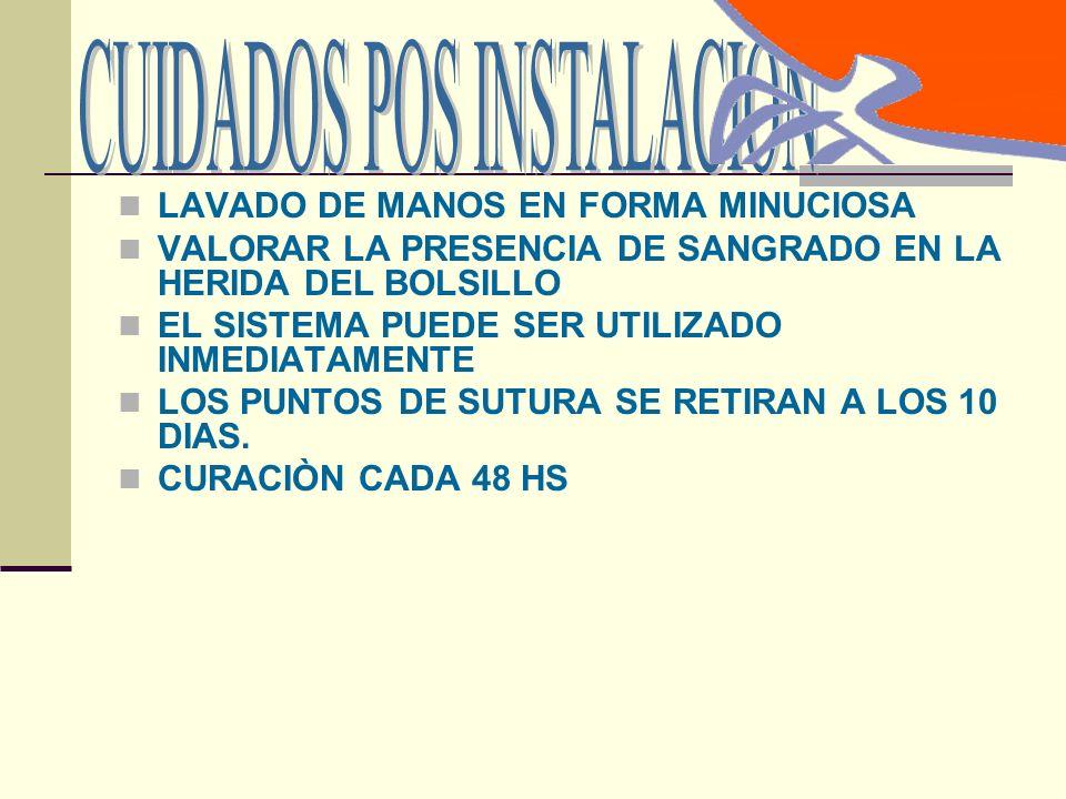 LAVADO DE MANOS EN FORMA MINUCIOSA VALORAR LA PRESENCIA DE SANGRADO EN LA HERIDA DEL BOLSILLO EL SISTEMA PUEDE SER UTILIZADO INMEDIATAMENTE LOS PUNTOS DE SUTURA SE RETIRAN A LOS 10 DIAS.