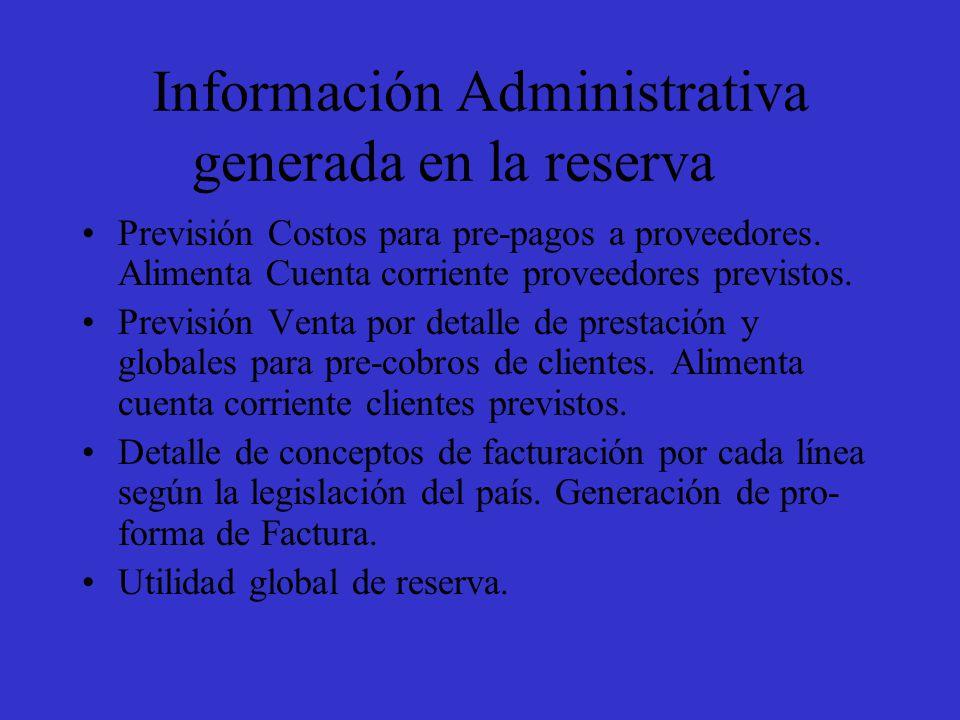 Información Administrativa generada en la reserva Previsión Costos para pre-pagos a proveedores.