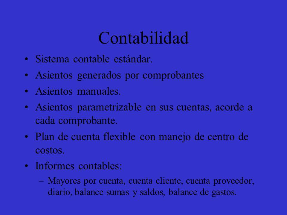 Contabilidad Sistema contable estándar. Asientos generados por comprobantes Asientos manuales.