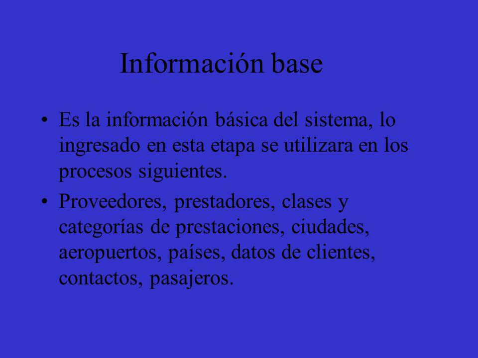 Información base Es la información básica del sistema, lo ingresado en esta etapa se utilizara en los procesos siguientes.