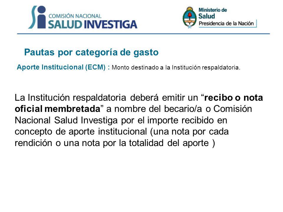 Pautas por categoría de gasto Aporte Institucional (ECM) : Monto destinado a la Institución respaldatoria.
